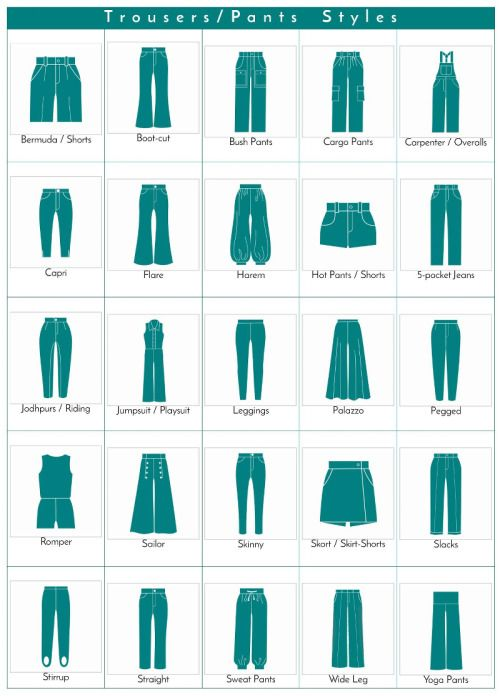 A visual glossary of trousers/pants styles More Visual Glossaries (for Her): Backpacks / Bags / Beads / Belt knots / Bobby Pins /…