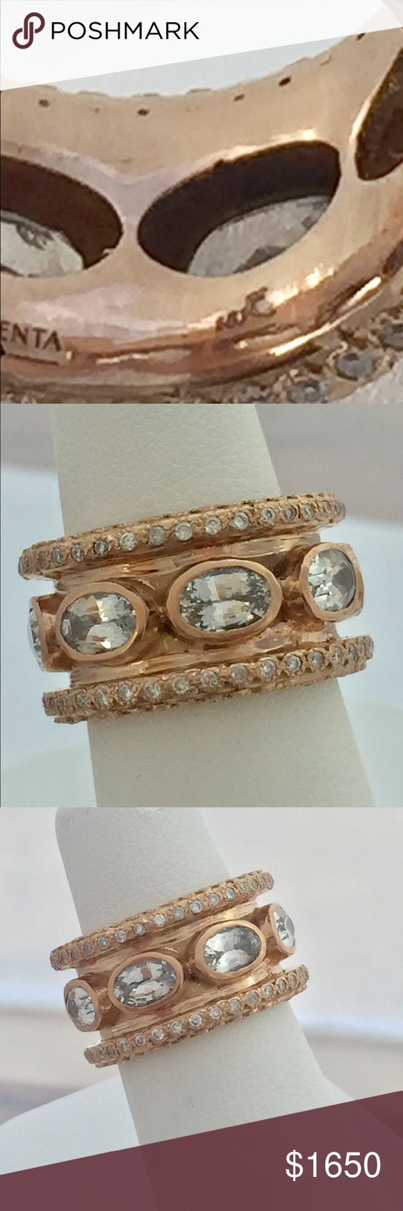 Emily Armenta 18kt RG white sapphire-diamond ring Authentic Emily Armenta 18kt rose gold ring. 4 rows of .01 pointers, each row has .25 ctw for a total of 1.00 in diamonds surrounding the ring & oval white sapphires in the center of the band. Band's wide so although it's a 5.5 size it wears more like a 5. Bought at Neiman Marcus NYC for my wife. She's taken excellent care of it so it's like new. See last photo of a ring similar but not 18kt or 1.00 ctw like hers. Cannot be resized. Armenta…