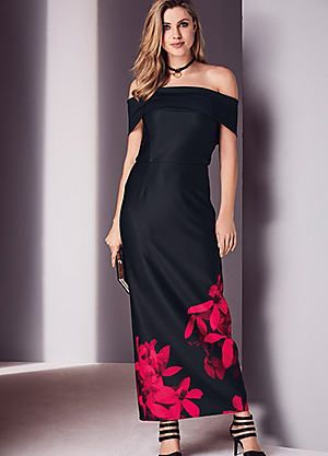 Long Bardot Floral Placement Dress #kaleidoscope #summer #fashion