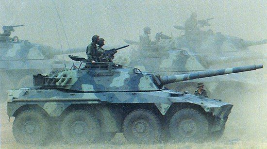 South African The Rooikat 76 armoured fighting vehicle with a 76mm gun. - Image - Army Technology