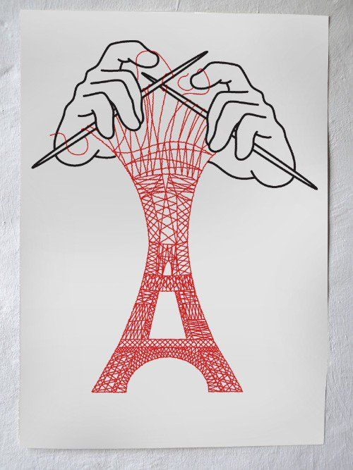 Silkscreen print - Eiffel Tower via Christoph Niemann. Click on the image to see more!