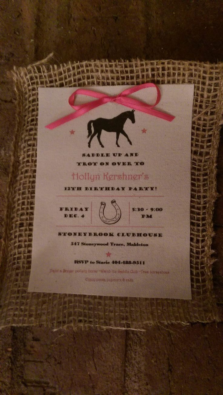 Horse party invitation - printed canvas on burlap