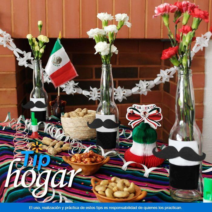 Decora tu mesa en estas Fiestas Patrias. Para recibir a tus invitados hoy en la noche decora tu mesa con elementos muy mexicanos. Con un sarape o rebozo como mantel, unas botellas de cerveza como floreros, papel picado, serpentinas y botanas crearás un espacio para celebrar en grande. ¡Viva México!