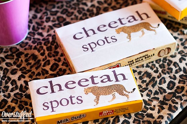 "Use candies like whoppers, rolos, or milk duds to be ""cheetah spots"" for cheetah themed party favors. Free printable download. #overstuffedlife"