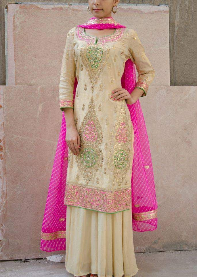 Pure Silk Crepe Hand Embroidered Suit In Cream Pink