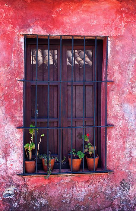 A bright pink wall in the historical district of Colonia del Sacramento in Uruguay.