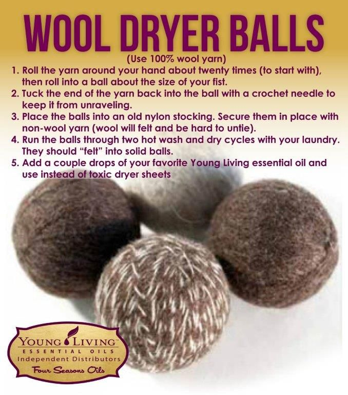 100% Wool Dryer Ball Recipe to use with Young Living essential oils. www.FourSeasonsOils.com                                                                                                                                                      More