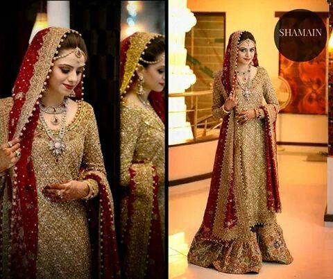Gold and Red Bridal Outfit
