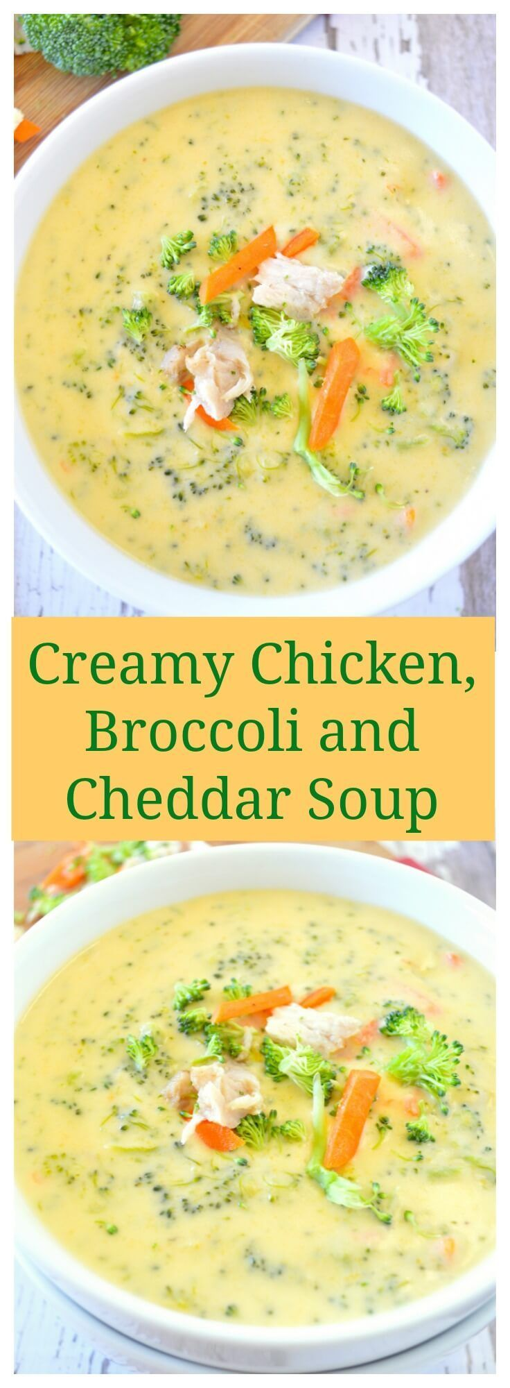 Make this Creamy Chicken, Broccoli, and Cheddar Soup! With fall around the corner, add this soup to your meal planning. This recipe will warm you up.