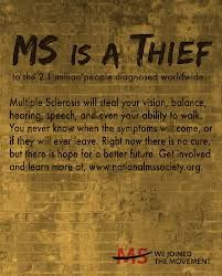 multiple sclerosis robs vision, balance, hearing, speech, ability to walk, & cognitive ability........Thief.    Yup!