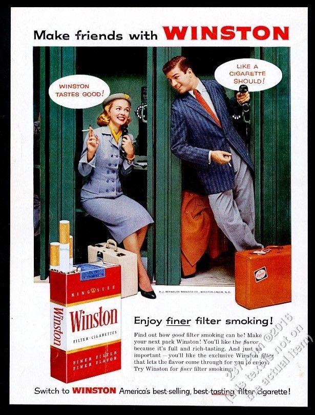 1956 Winston cigarettes woman man telephone booth photo vintage print ad