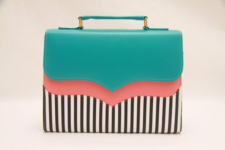 Tiffany blue,salmon pink,neon,colorblock,messenger bag,color block,white stripes,stripes fabric,black and white,summer time,messenger bag. $51.00, via Etsy.
