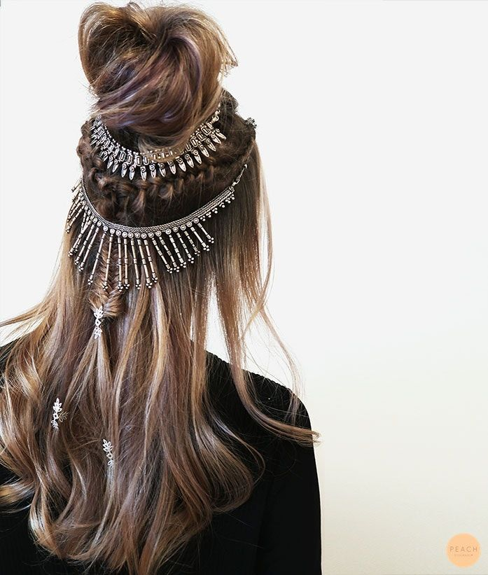 Cool styling with half-up and braids :)