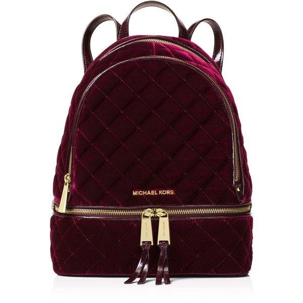Michael Michael Kors Rhea Medium Velvet Zip Backpack (2 135 SEK) ❤ liked on Polyvore featuring bags, backpacks, accessories, bags backpacks, carryall bag, quilted backpack, rucksack bags, zip bag and zip close bags