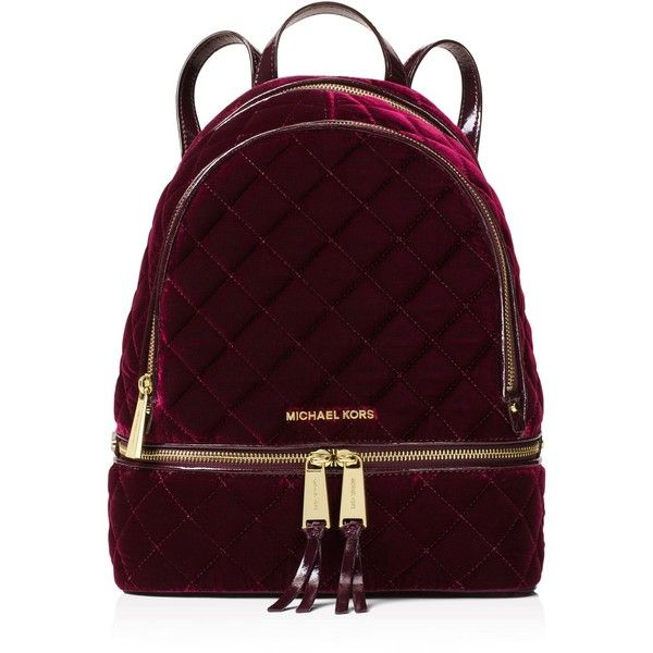 Michael Michael Kors Rhea Medium Velvet Zip Backpack (£259) ❤ liked on Polyvore featuring bags, backpacks, quilted bags, purple bags, knapsack bag, zipper backpack and carryall bag