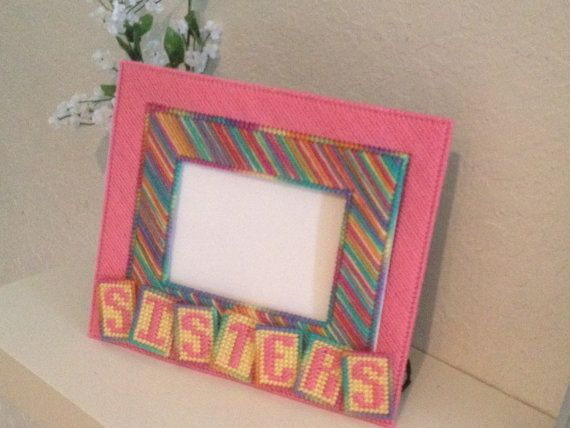 Sisters Picture Frame in Plastic Canvas on Etsy, $28.00