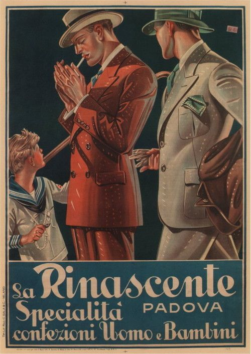 Advertising for 'La Rinascente-Padova' for men and children.  Please please please, I need to know the author of this ad illustration!!!!!!