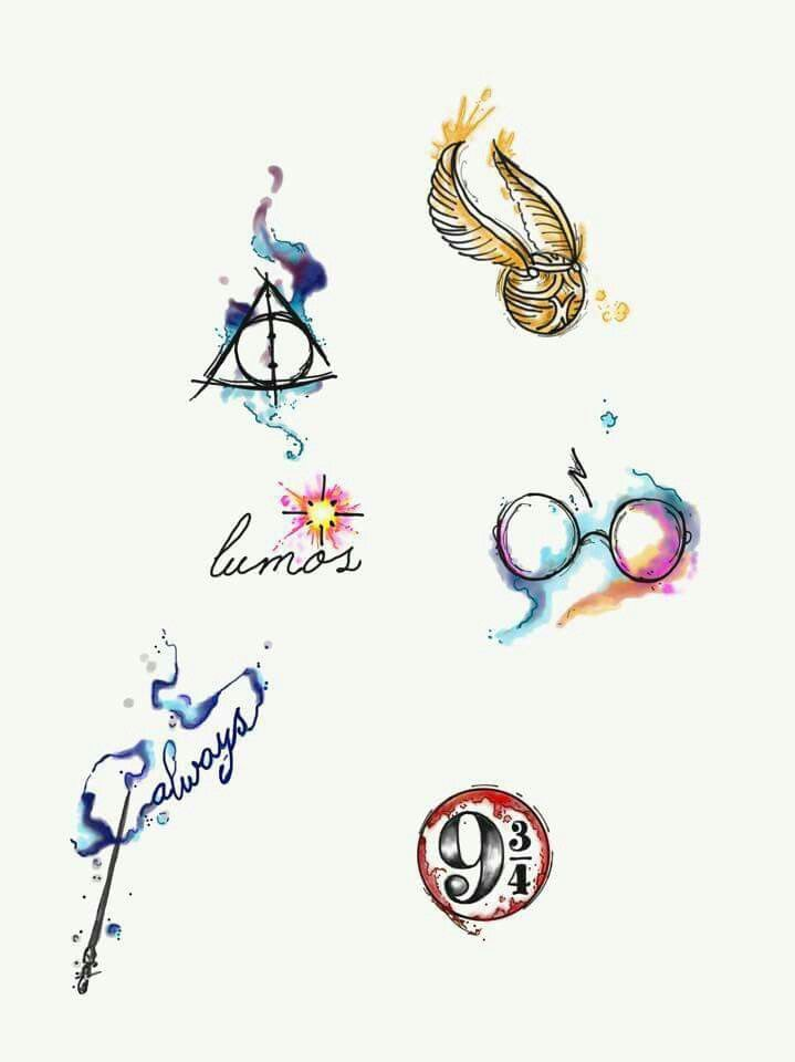 Harry Potter aquarela tattoo