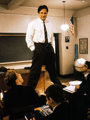 """Classic film about youth and education. Inspired me to lead an in-class reenactment of the """"O Captain, My Captain"""" scene in my senior English class. Dead Poets Society. 1989."""