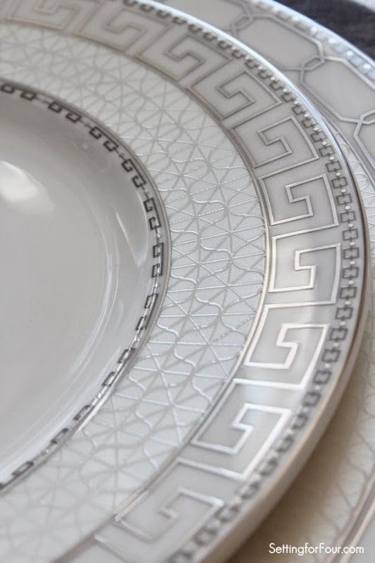 Greek key patterned plates