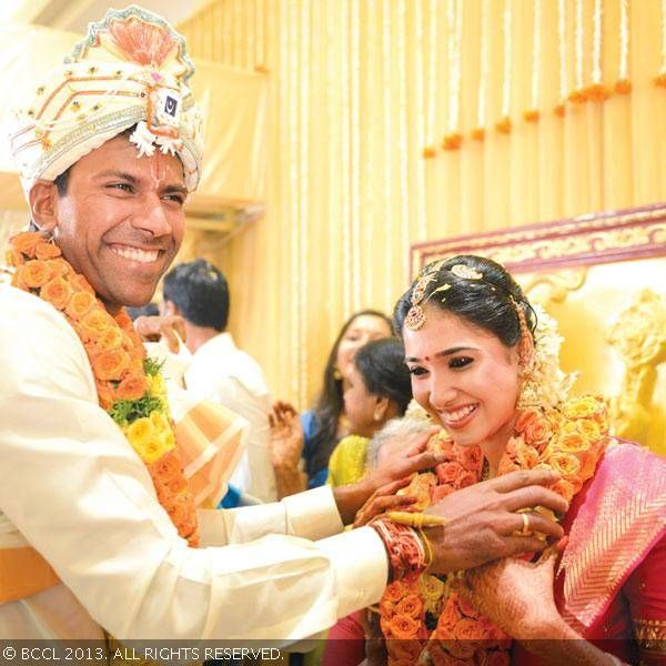 Cricketer Lakshmipathi Balaji married his longtime girlfriend Priya Thalur in a quiet private ceremony in Chennai on September 16, 2013.