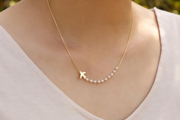 Airplane necklace. Gold everyday necklace. Tiny small petite dainty minimalist charm jewelry. no59