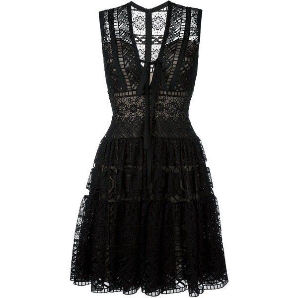 Elie Saab embroidered flared dress (34.195 HRK) ❤ liked on Polyvore featuring dresses, vestidos, black, silk dress, flare dress, flared dresses, embroidery dress and elie saab