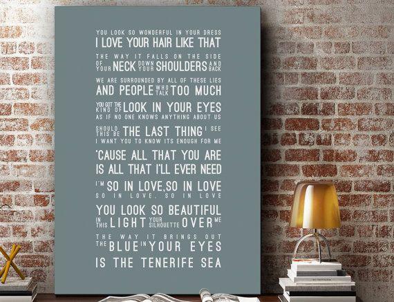 Ed Sheeran Lyrics Tenerife Sea Music Wall Art Song by VelvetPrint