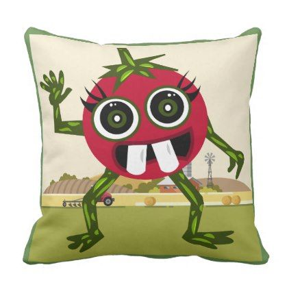 Cute Tomato Polyester Throw Pillow - home gifts ideas decor special unique custom individual customized individualized