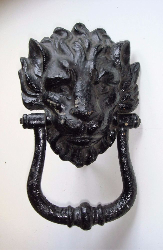 Large And Impressive Early 19th Century Cast Iron Lions Head Door Knocker.  The Classic English