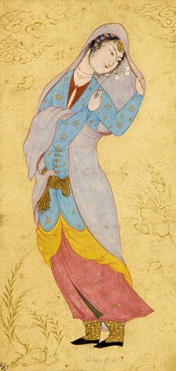 Woman with a Veil Attributed to Riza Abbasi (ca. 1565–1635)  Iran, Isfahan, ca. 1590–95 Opaque watercolor, ink, and gold on paper 34.2 x 21.5 cm (13 1/2 x 8 1/2 in.) The Arthur M. Sackler Gallery and the Freer Gallery of Art - Smithsonian Institution, Washington DC