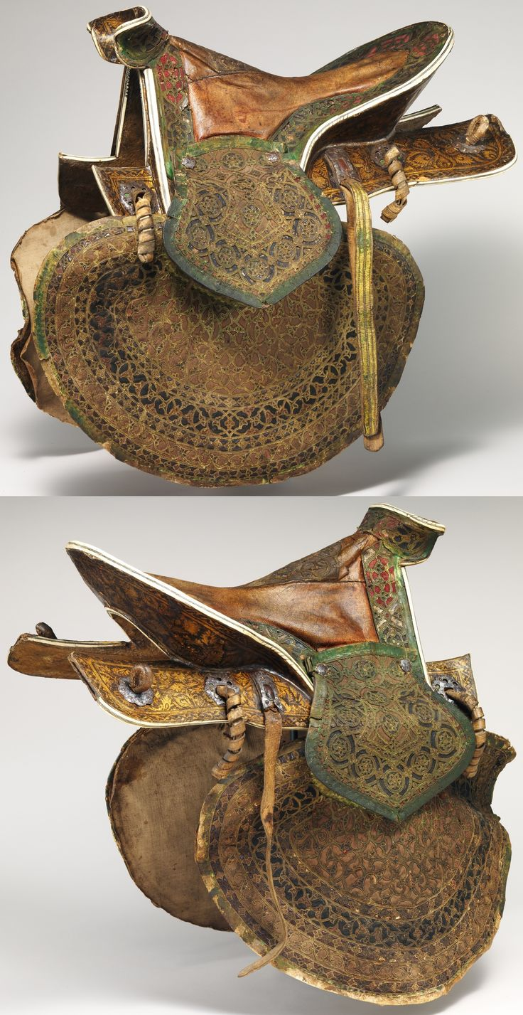 Ottoman saddle, 16th century, wood, bone, leather, textile, polychromy, H. 11 3/4 in. (); L. 20 1/2 in. (); Wt. 9 lb. 3 oz. (4167 g). This saddle is the only known Ottoman example of its type. The use of pierced leather decoration appliquéd on different colored grounds occurs on a small number of Ottoman objects such as bow cases, quivers, canteens of the 16th century. It appears that all of them were made for high-ranking officers. Met Museum.