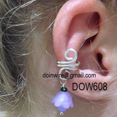 doinWire Scroll Ear Cuff with dangler flower. DOW608.