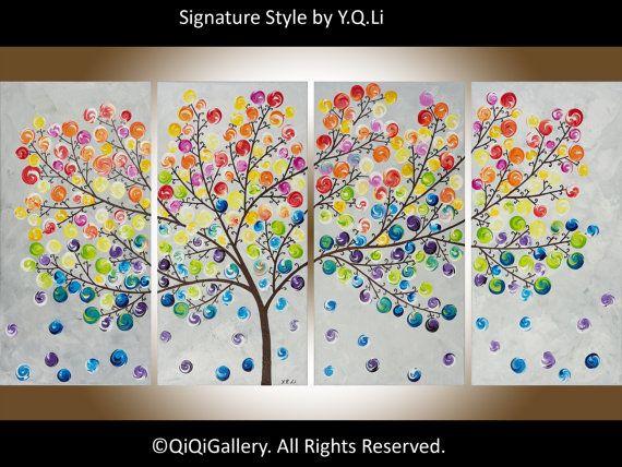 Art peinture abstraite moderne peinture Impasto peinture arbre Original peinture peinture acrylique peinture « Septième ciel » QIQIGallery de la toile
