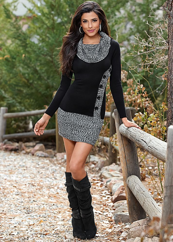 Layered Sweater Dress with Boots