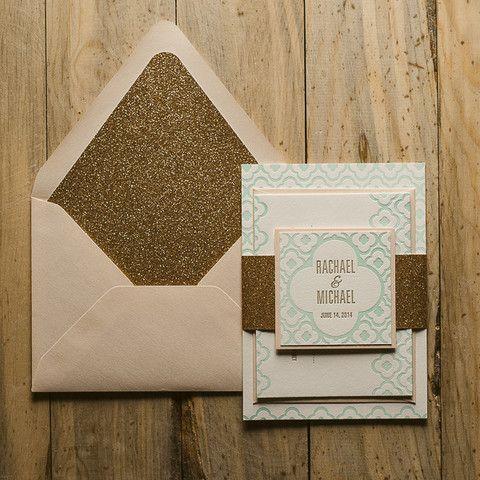 DANICA Suite Glitter Package. Mint Wedding InvitationsWedding ...