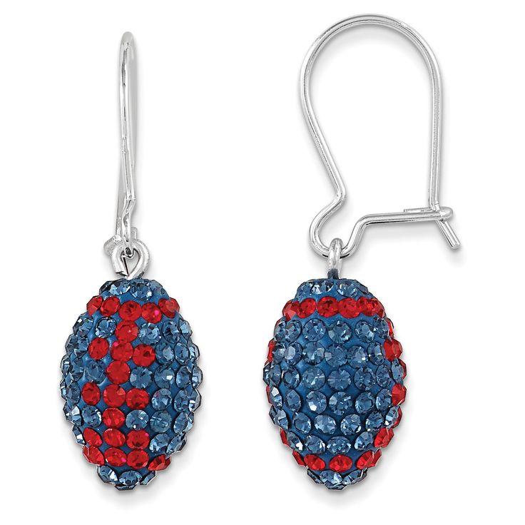 Sterling Silver Swarovski Crystal U of Mississippi Football Earrings CE0172-55