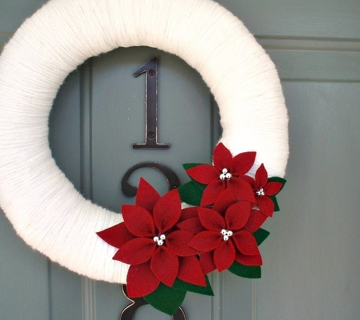 Yarn Wreath Felt Handmade Holiday Decoration by ItzFitz on Etsy