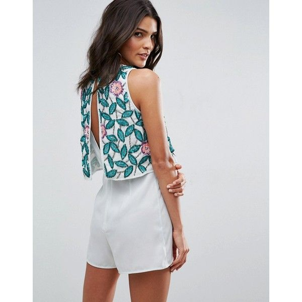ASOS Double Layer Floral Embellished Occasion Playsuit ($82) ❤ liked on Polyvore featuring jumpsuits, rompers, green, asos rompers, asos, green sequin romper, playsuit romper and floral print romper