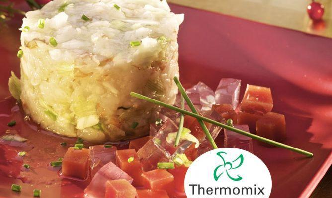 Tartar de langostinos con gelatina de lima y tomate para Thermomix