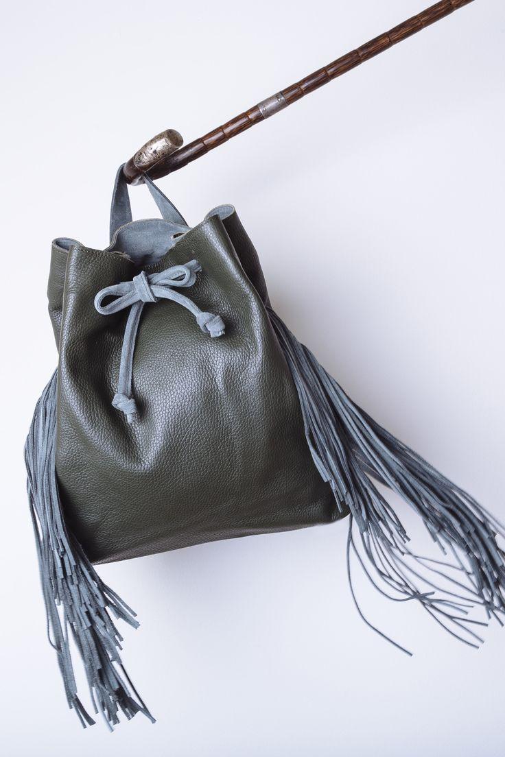 Artemis fringe backpack green WalkingStick Collection by HappyM www.happym.gr