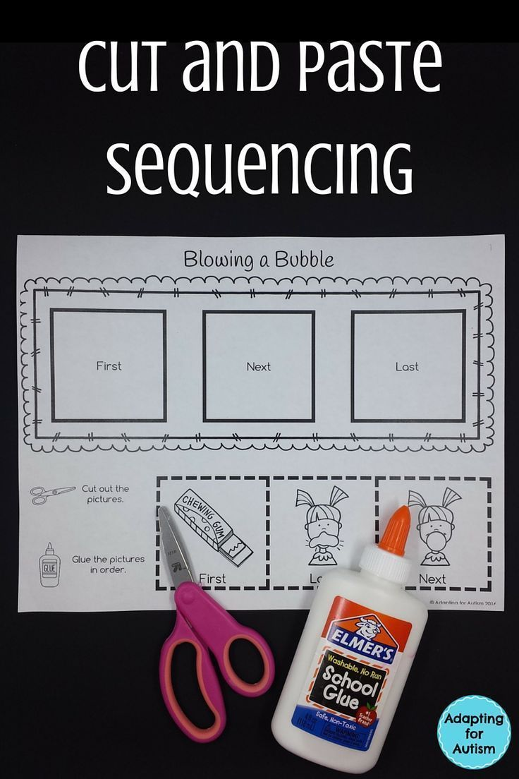 These sequencing activities are perfect to add to your independent work stations in your special education classroom. I created these cut and paste worksheets for my students with autism to work on fine motor skills and sequencing goals!