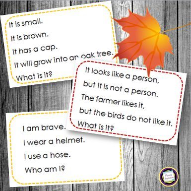 FREE 24 fall riddle cards for strengthening autumn vocabulary and inference skills. https://www.teacherspayteachers.com/Product/Inference-Key-Details-and-Vocabulary-Autumn-Riddles-329691
