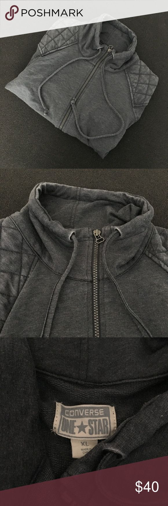 Converse Zip Up Jacket XL Gray Women's Coat In good condition See photos If you have any questions feel free to ask Converse Jackets & Coats