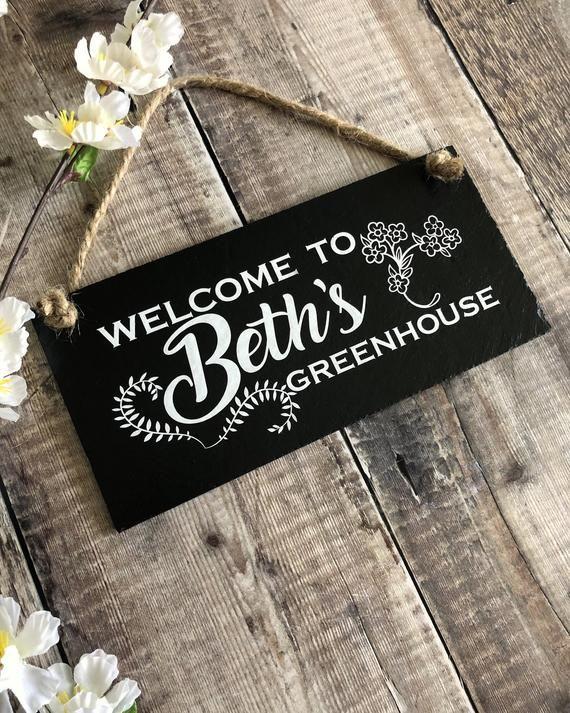 Custom Greenhouse Sign Gardening Gift Slate Welcome Sign