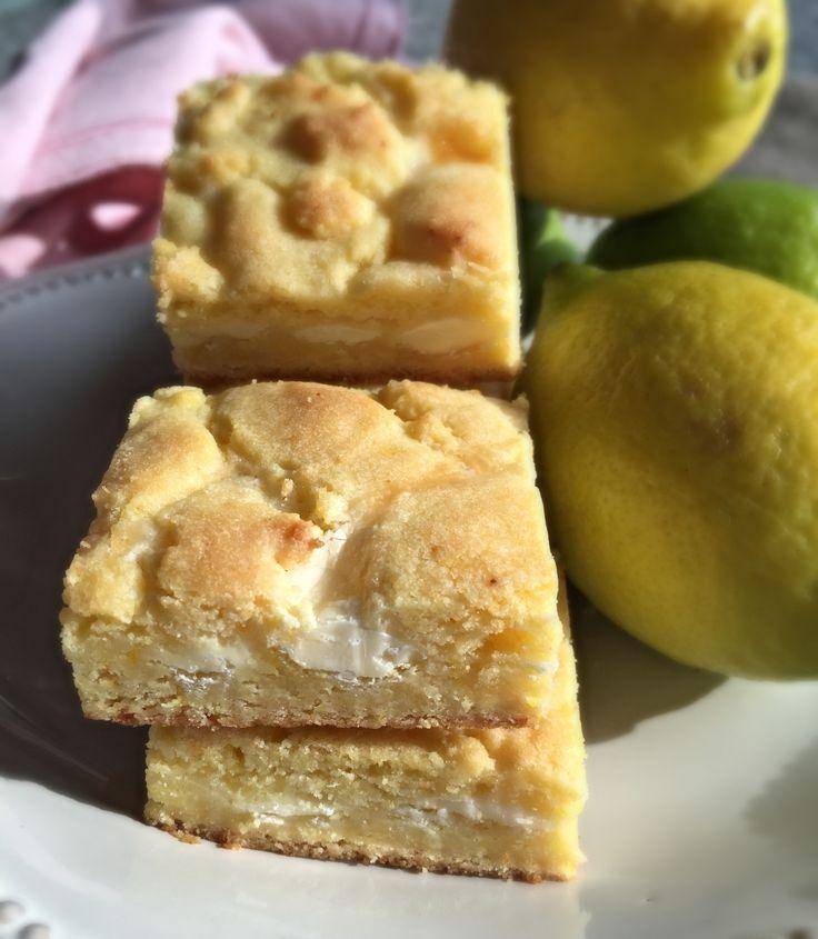 Barras de Limón y Chocolate Blanco, deliciosas y para flojos! Llevan base para tortas de limón
