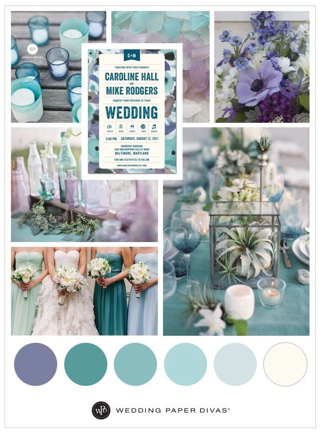 Beach and Sea-Glass Blue Inspired Wedding Theme | Wedding color palette | Wedding Paper Divas | Affiliate link |