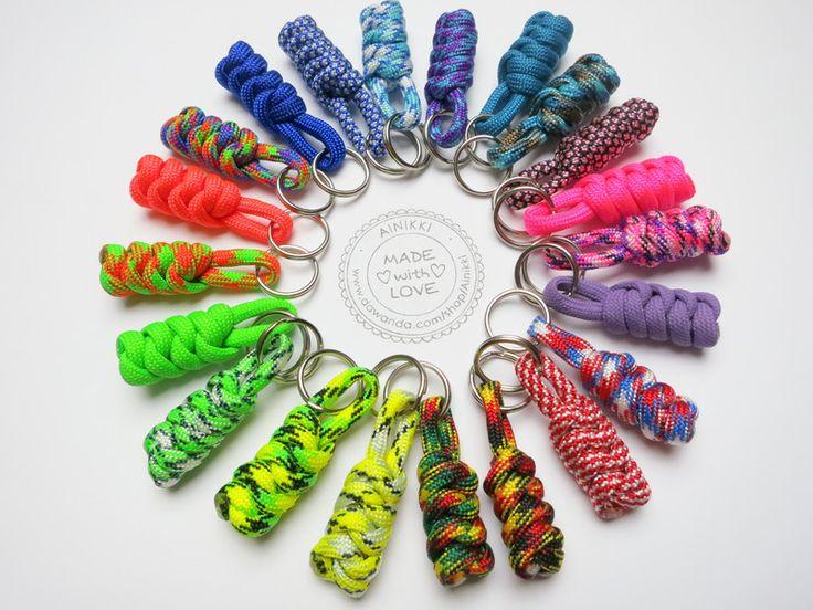 Schlüsselanhänger - 5 Mini-Schlüsselanhänger Paracord Anhänger lanyard - ein Designerstück von Ainikki bei DaWanda