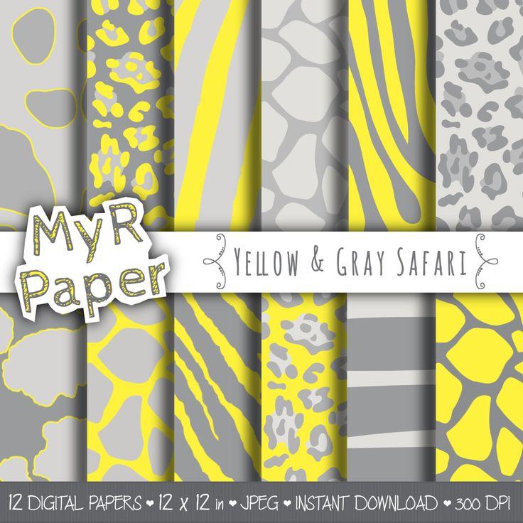 "Animal Digital Paper: ""Yellow & Gray Safari"" pack of backgrounds - jungle, zoo, animals, giraffe, leopard, zebra, tiger, cow - yellow grey di MyRpaper su Etsy scrapbooking paper"