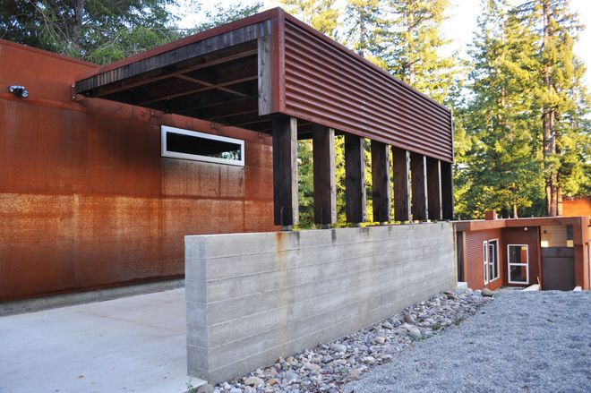 industrial exterior by Fuse Architects, Inc. A simple yet modern carport.